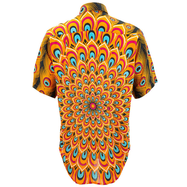 Regular Fit Short Sleeve Shirt - Peacock Mandala - Orange Blue