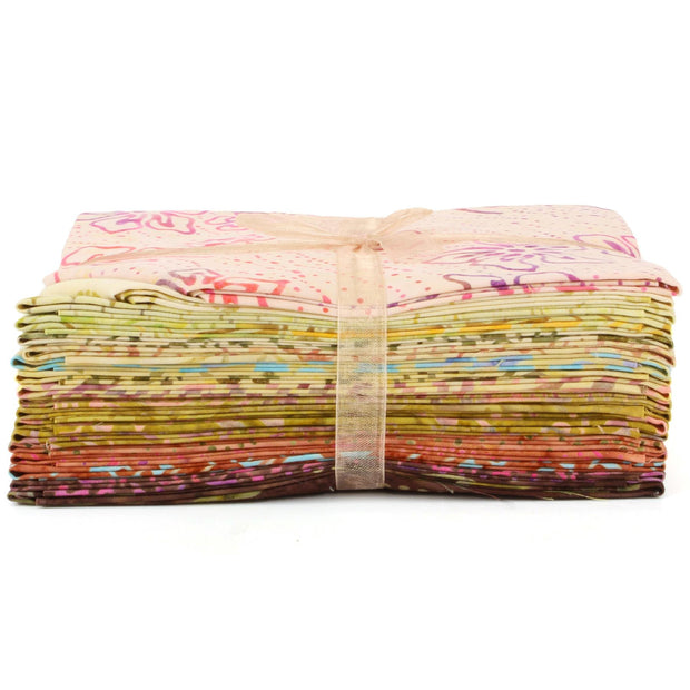 Cotton Batik Fat Quarter Pre Cut Fabric Bundle - Beige to Brown