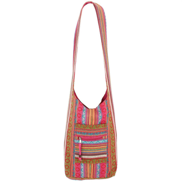Diamond Pattern Canvas Sling Shoulder Bag - Pink