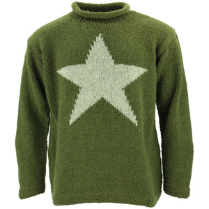 Chunky Wool Knit Star Jumper - Green & Light Grey