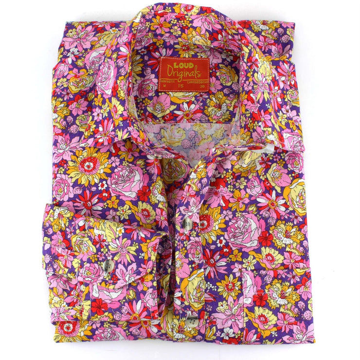 Tailored Fit Long Sleeve Shirt - Multi-coloured Floral on Purple