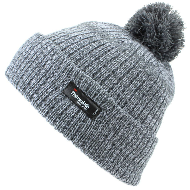 Childrens 2-Tone Bobble Beanie Hat with Turn-up - Grey
