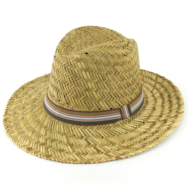 Wide Brim Straw Fedora Trilby Hat - Natural