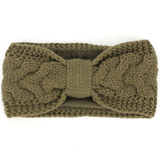 Knitted Bowknot Ribbed Headband - Brown