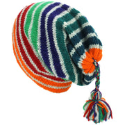 Wool Knit Tassel Beanie Hat - Stripe Green