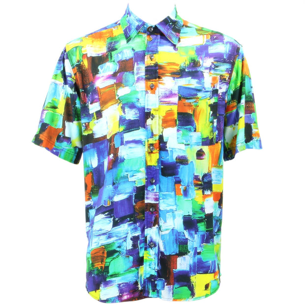 Regular Fit Short Sleeve Shirt - Paintbrush Strokes