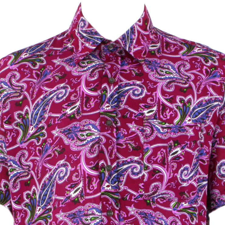 Regular Fit Short Sleeve Shirt - Pink & Maroon Abstract Paisley