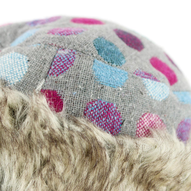 Spotty Polka Dot Hat with Faux Fur cuff - Light Grey