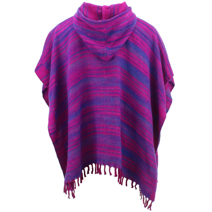Hooded Square Poncho - Pink