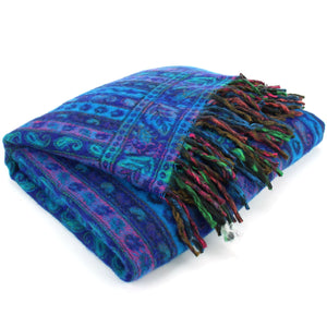 Acrylic Wool Shawl Blanket - Stripe - Blue & Purple