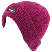 Chenille beanie hat with fleece lining - Pink (One Size)