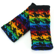 Wool Knit Arm Warmer - Rainbow Houndstooth