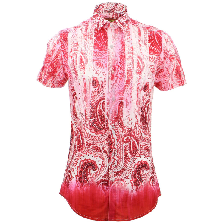Tailored Fit Short Sleeve Shirt - Neon Paisley Fade