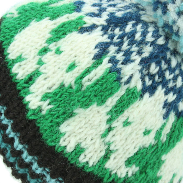 Wool Knit Bobble Beanie Hat - Elephant - Green Teal