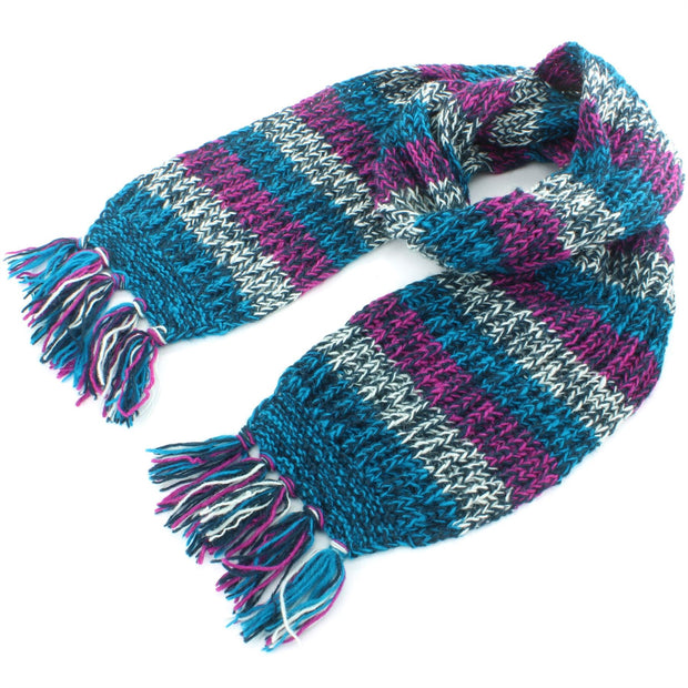 Chunky Wool Knit Abstract Pattern Scarf - Blue