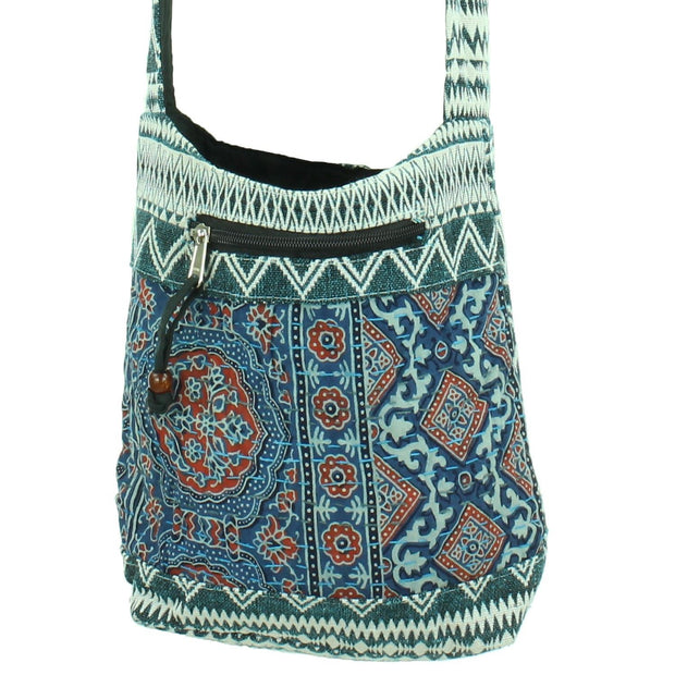 Cotton Canvas Sling Shoulder Bag - Ethnic Turquoise