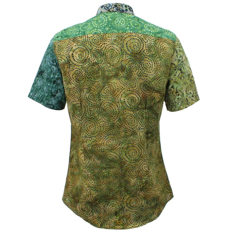 Slim Fit Short Sleeve Mixed Panel Shirt - Green Mix
