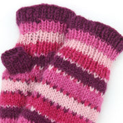 Wool Knit Arm Warmer - Stripe - Pink
