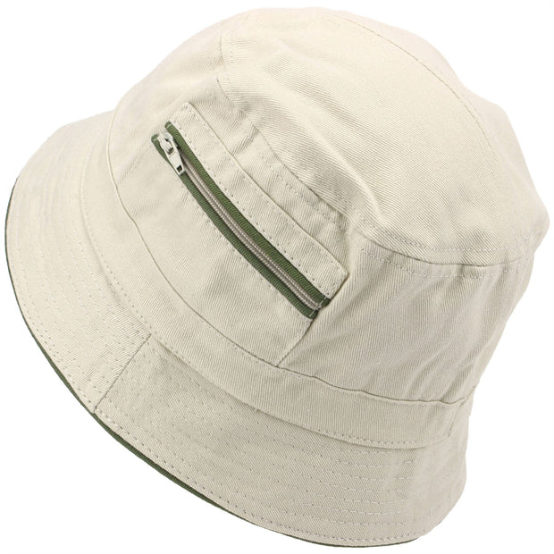 Bucket Hat with Contrast Trim and Zip Pockets - Sand