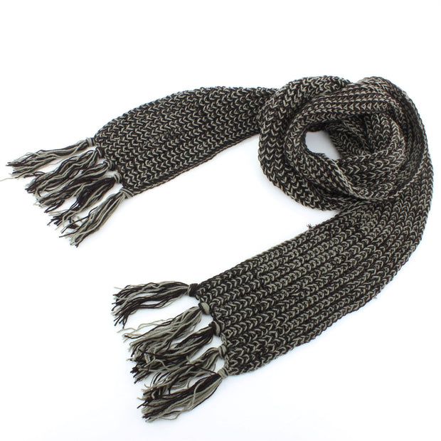 Long Narrow Acrylic Wool Knit Scarf - Black & Grey