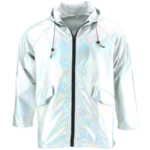 Waterproof Hooded Shiny Jacket - Silver