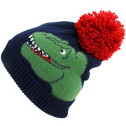 dinosaur Kids Bobble Beanie Hat - Navy