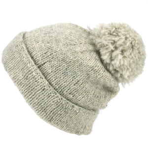 Chunky Wool Knit Baggy Slouch Beanie Bobble Hat - Light Grey