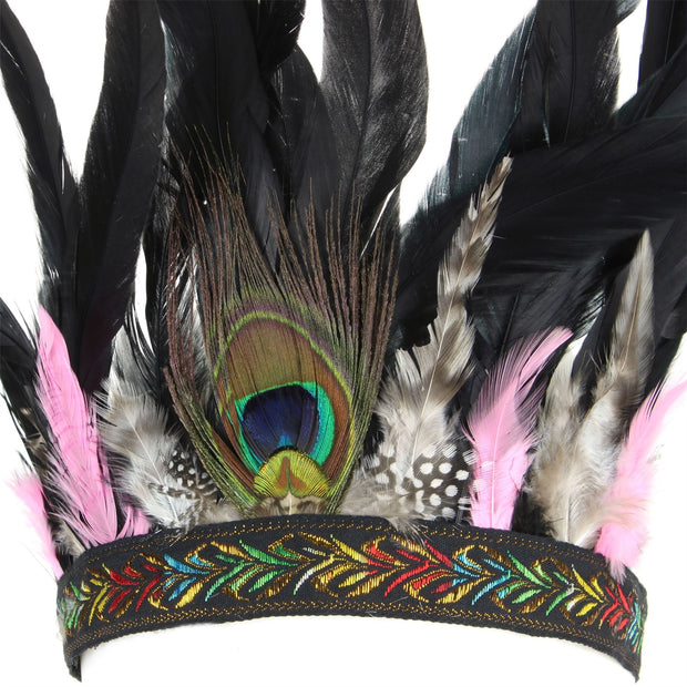Feather Headdress Headband with Pink Feathers