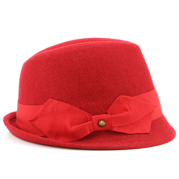 Wool trilby hat with short brim and large side bow - Red (57cm)