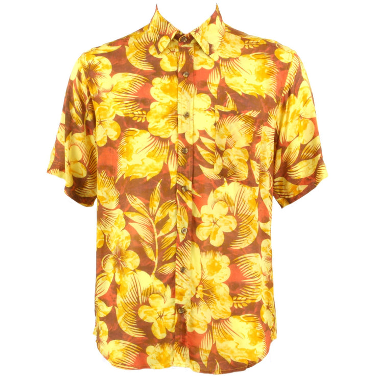 Regular Fit Short Sleeve Shirt - Yellow Floral on Orange