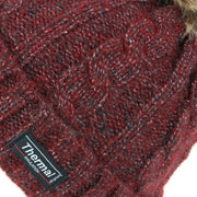 Cable Knit Beanie Hat with Thermal Lining and Faux Fur Bobble - Red