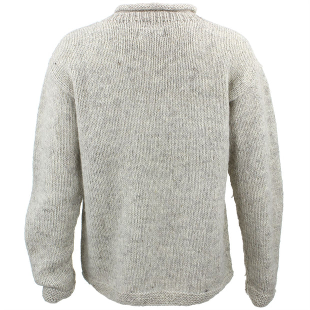 Wool Knit Star Jumper - Light Grey