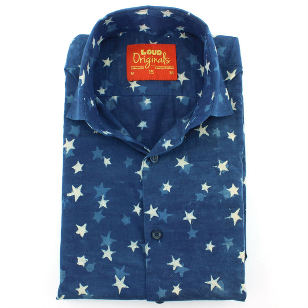 Tailored Fit Long Sleeve Shirt - Block Print - Stars