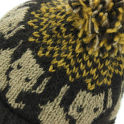 Wool Knit Bobble Beanie Hat - Elephant - Brown Gold