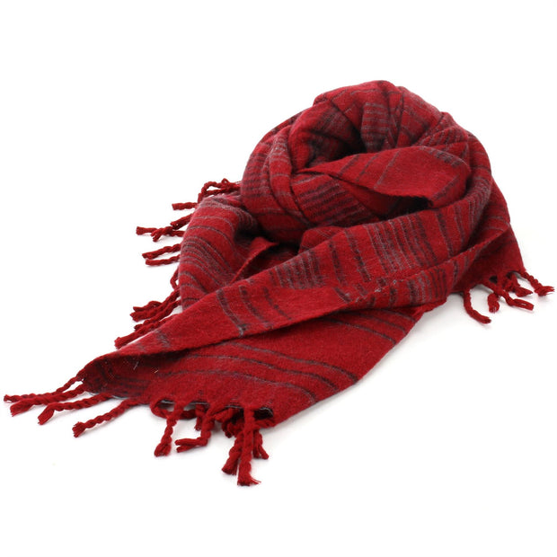 Vegan Wool Shawl Blanket - Stripe - Red Grey