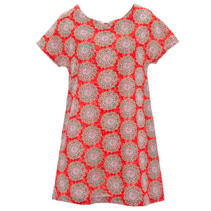 Perfect Shift Pocket Dress - Orange Suzani