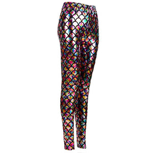 Shiny Fish Scale Leggings - Rainbow