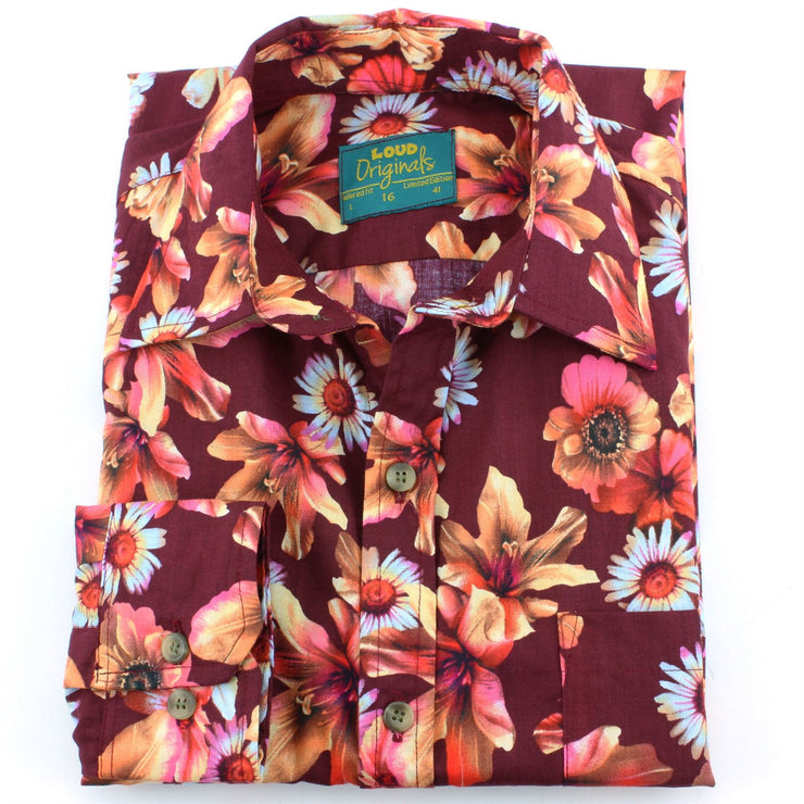 Tailored Fit Long Sleeve Shirt - Red & Pink Floral on Brown
