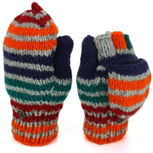 Wool Knit Shooter Gloves - Stripe Green