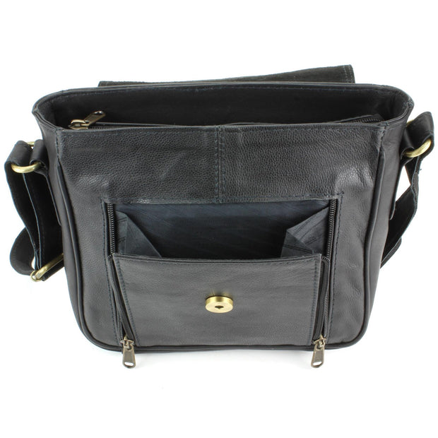 Real Leather Shoulder Bag with Large Extendable Front Pocket - Black