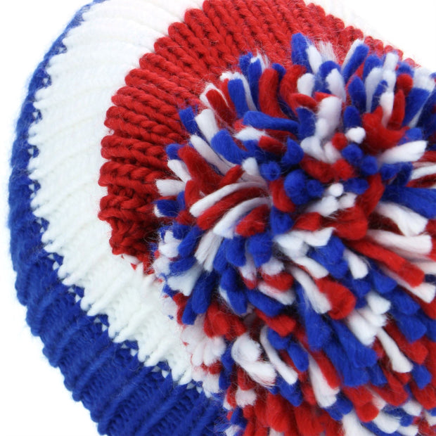 Chunky Acrylic Knit Beanie Hat with a MASSIVE Bobble - Blue, White & Red