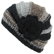 Ladies Chunky Wool Knit Shell Shaped Beanie Hat with Side Flower - Black