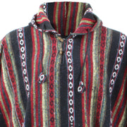 Brushed Cotton Hooded Poncho - Black Red
