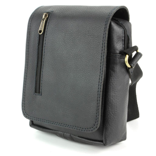 Real Leather Shoulder Bag with Front Zip - Black