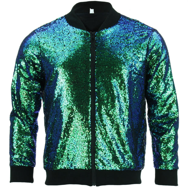 Unisex Sequin Bomber Jacket - Green