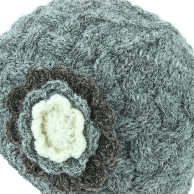 Ladies Wool Cable Knit Beanie Hat with Contrast Flower - Grey