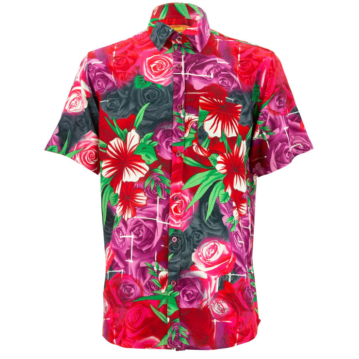Regular Fit Short Sleeve Shirt - Roses