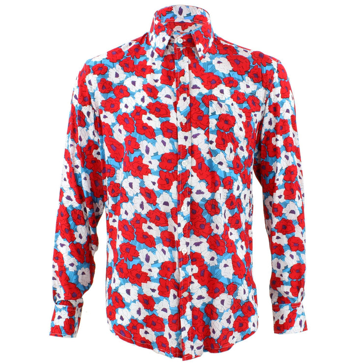 Tailored Fit Long Sleeve Shirt - Red & White Abstract Floral
