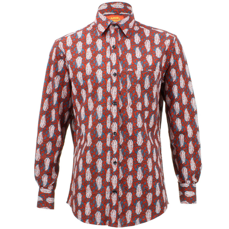 Regular Fit Long Sleeve Shirt - Red & Grey with White Feathers