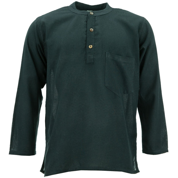Cotton Grandad Collar Shirt - Black
